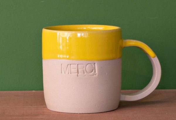 Tasse mugs avec inscription Merci faite à la main